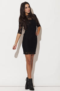 Black Floral Lace Shift Dress with Elbow Length Sleeves