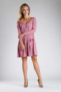 Pink Dress with a Loose Fashion. Fastened with buttons
