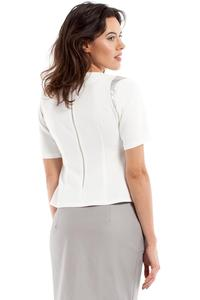 Ecru Short Sleeves Blouse with Silver Details