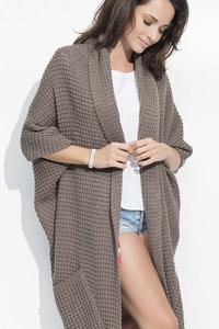 Cappuccino Long Bat Sleeves Cape Cardigan