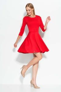 Red 3/4 Sleeves Flared Mini Dress