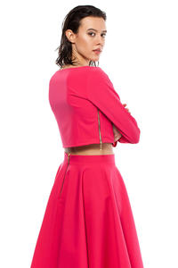 Pink Cropped Blouse with Bateau Neckline and Side Zipper