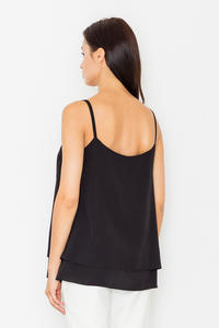 Black Two Layers Spaghetti Straps Top