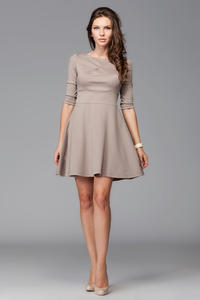 Beige Giggly Fashion Flared Skirt Dress