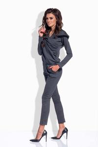 Dark Grey Slim Legs Hooded Jumpsuit