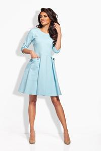 Light Blue Delicate Pleats Big Pockets Dress