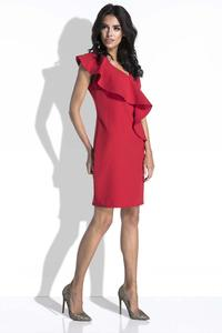 Red Coctail Mini Dress with a Frill