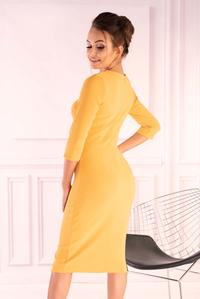 Yellow Knitted Fitted Dress with Buttons