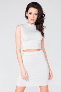 Light Grey Bodycon Fit Mini Skirt