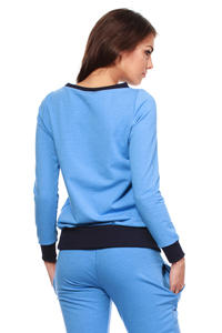 Blue Dynamic Sporty Sweatshirt Long-sleeve Blouse