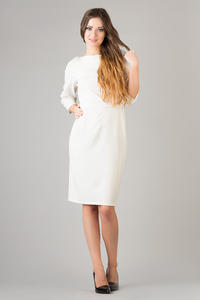 Off White Seam Shift Dress with Back Zip Fastening