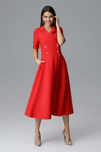 Midi Red Dress With Collar