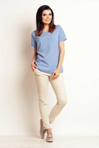 Light Blue Simple Short Sleeves Blouse with Pocket