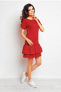 Red Double Frill Casual Mini Dress