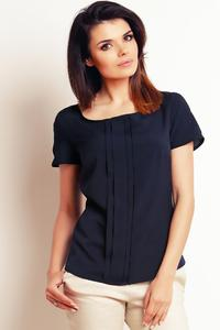 Dark Blue Simple Round Neck Short Sleeves Blouse