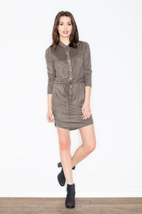 Olive Green Snaps Closure Mini Dress