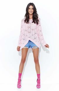 Pink Loose Sweater with a Wide Neckline