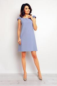 Blue Flared Dress with Butterfly Sleeves