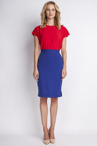 Blue High Waist Knee Length Elegant Skirt