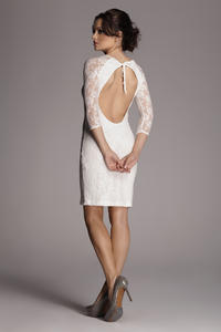 Ecru Backless Floral Lace Shift Dress