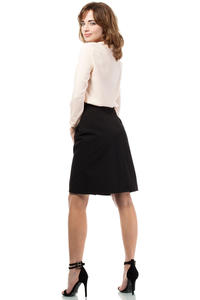 Black Elegant Knee Lenght Double Fold Skirt