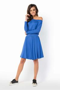 Blue Casual Scoop Neckline Dress
