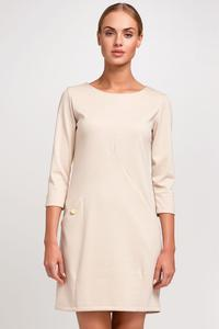 Beige Casual Mini Dress with Pockets