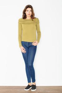Green Knitwear Wide Tourtle Neck Blouse