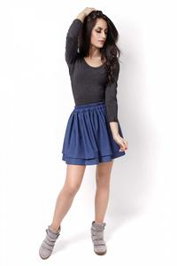 Blue Elastic Waist Firlled Mini Skirt