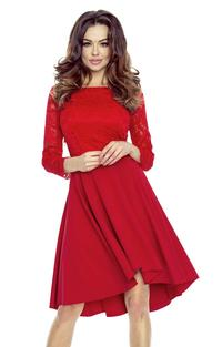 Red Evening Dress with Lace Top