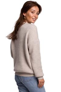 Oversize Long Cut Sweater - Beige