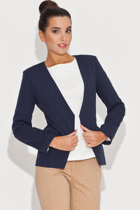 Laser Cut Front Open Navy Blue Blazer