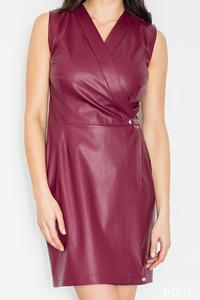 Dark Red Sexy V-Neckline Eco-leather Mini Dress