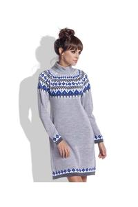 Grey Knitted Scandinawian Patterns Dress