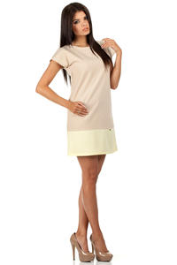 Beige Pastel Lovely Straight Cut Lovely Dress