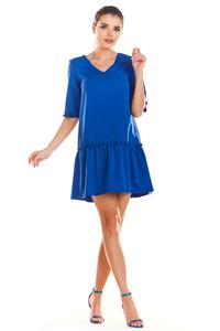 Blue V-neck dress with a frill at the bottom
