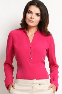 Pink Elegant Office Style Shirt with Buttons