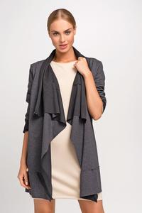 Dark Grey Loose Lapels Ladies Cardigan