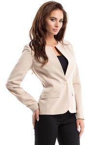 Beige One Button Classic Ladies Blazer