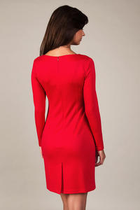 Red Classic Elegant Draped Dress