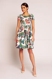 White Abstract Printed Pleated Dress with 1/4 Sleeves