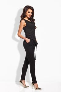 Black Tapered Legs Self Tie Bow Ladies Jumpsuit