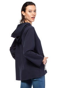 Navy Oversized Hooded Sweatshirt with Contrast Kangaroo Pocket