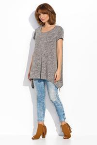 Grey Asymetrical Long Casual Blouse