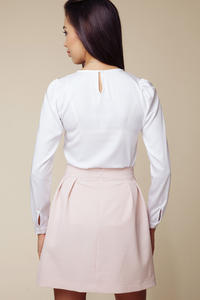 Side Pleated Pink Mini Skirt with Back Seam