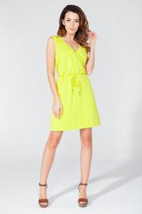 Yellow Casual V-Neckline Drawstring Waist Dress