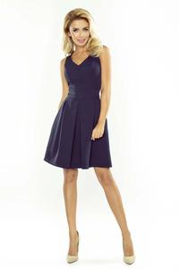 Navy Blue Sleeveless Flared Dress with Side Pockets
