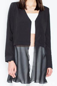 Black Stylish Blazer with Chiffon Part