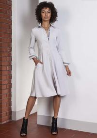 Grey Midi Shirtdress With Collar