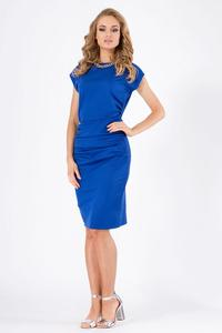 Blue Wrinkled Knee Lenght Short Sleeves Dress